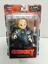 "CHILD'S PLAY CHUCKY 5"" inch ACTION FIGURE w/ KNIFE & GUN ACCESSORY MEZCO"