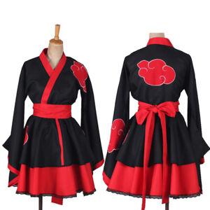 Naruto0 Shippuden Costumes Akatsuki Lolita Skirts Kimono Dress Cosplay Uniform