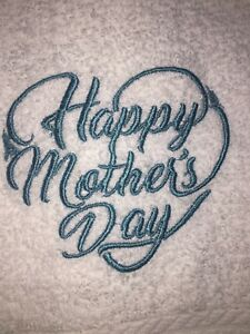 Embroidered White Bathroom Hand Towel- Happy Mother's Day in Heart HS0870