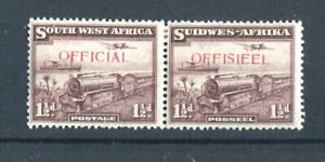 South West Africa KGVI 1938 Official pair 1.5d purple-brown SG.O17 MLH
