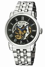 Gevril Men's 2691 Vanderbilt Automatic Black Dial Stainless Steel Wristwatch