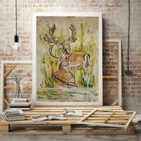 Original Gemälde Hirsch handgemalt Kunststück abstrakt 30x40cm Aquarelle Malerei