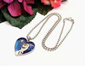 Cute! DISNEY Silvertone Ball Chain & Olaf Frozen Heart Pendant Necklace!