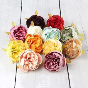 2/100Pcs Silk Artificial Peony Flower Heads Wedding Bouquet Home Party DIY Decor