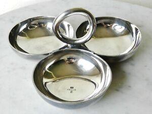 Vintage Christofle Triple Nut Candy Condiment Dish Silver Plate