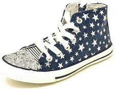 Girls Star Trainers Childrens Kids Blue Glitter High Top Sneakers Size 11.5-3