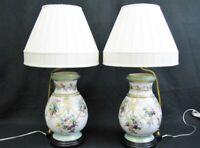 Elegant Pair of Old Paris Porcelain Painted Vases Mounted As Table Lamps C. 1860