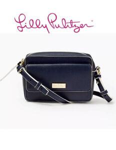 NWT Lilly Pulitzer Lilias True Navy Crossbody Bag Gold Hardware Handbag Purse