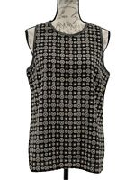 Mudpie Top NWOT Sleeveless Blouse Black Grey & Beige Faux Leather Trim Size M