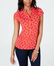 Charter Club Women's Petite Chain Print Polo Shirt Risky Red PS