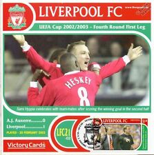 Liverpool 2002-03 Auxerre (Sami Hyypia/Heskey) Football Stamp Victory Card #221