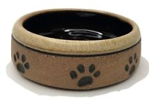 Artist Signed Tan Brown Stoneware Pottery Cat Dog Pet Food Water Dish Paw Prints