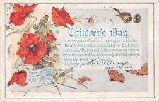1915 Children's Day Invitation Postcard - Poppies, Daisies, Birds, Butterflies