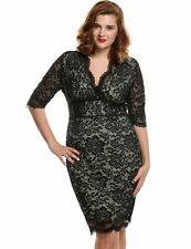 "MARCEL"" STUNNING LADIES PLUS SIZE 16-18 BLACK NUDE LACE EVENING COCKTAIL DRESS"