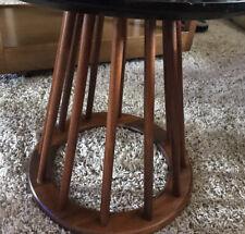 Mid Century Arthur Umanoff Spindle Walnut Side Table Round