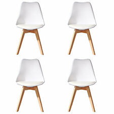 4 X (4X) (X4) WHITE Jamie Dining Chair Wood Retro Designer SOFT PAD FAUX LEATHER