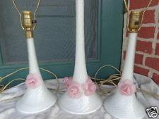 VINTAGE MID CENTURY ITALIAN VENETIAN MURANO ART GLASS APPLIED ROSES LAMP SET