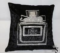 """Black Crushed Velvet """"MISS"""" Perfume bottle Glitter Cushion Cover ONLY. Free P&P."""