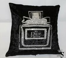 "Black Crushed Velvet, Silver ""MISS"" Perfume bottle Glitter Cushion."