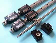 16mm ballscrew RM1605-500mm+BK/BF12 end bearing+15mm Linear Guideway 2 Rail CNC
