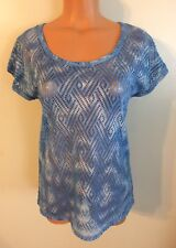 •• Women's Maurices Size Small Blouse SS Polyester Blue Shirt Nice!