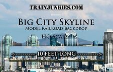 "TrainJunkies HO Scale Big City Skyline Model Railroad Backdrop 120""X18"""