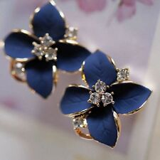 Contemporary Enameled Blue Flower Leverback Earrings w Clear Rhinestones