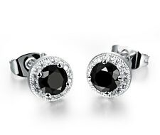 8mm Men Women Sterling Silver Black Round Cubic Zirconia Ear Stud Earrings Gift