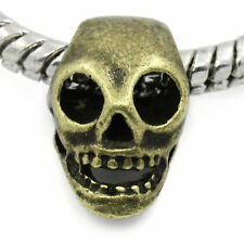 1 x  European Charm Bead Skull Bronze Tone FR11