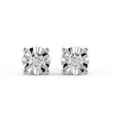 0.15 Ct Round Diamond Illusion Stud Earrings, White Gold - Push Backs