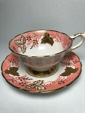 "Pink Royal Stafford England ""Leaf Berry"" Bone China Tea Cup and Saucer"