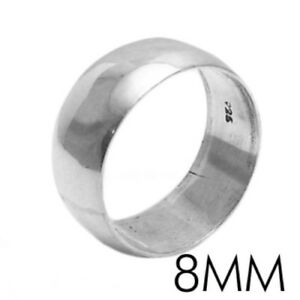 925 Sterling Silver Plain Wedding Band Ring All sizes