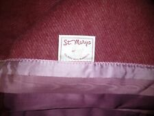 Vintage St. Mary's All Pure Wool Blanket Cranberry Pink Mauve Satin Edge Vgc