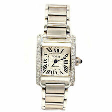 14kt White Gold Lady's Geneve Watch With .45cts Round Diamonds