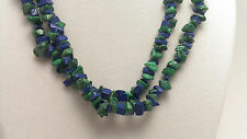 """*Authentic* India Lapis Lazuli and Malachite Chip Bead Crystal 34"""" Necklace #81"""