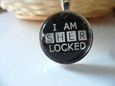 I Am Sherlocked Glass Cabochon Pendant Necklace 25mm setting,Sherlock Holmes
