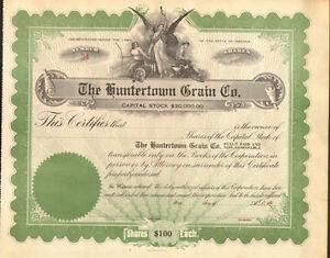 The Huntertown Grain Co. > Indiana stock certificate share
