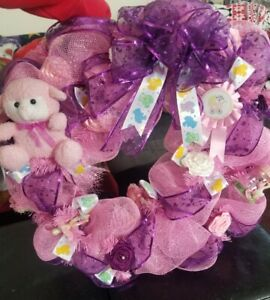 """IT'S A GIRL"" Baby Girl Announcement Door Wreath decoration Baby Shower Gift"