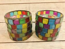 Set Of 2, Rainbow Colorful Round Mosaic Votive candle holders, Candles Included