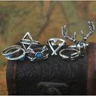 7PCS Vintage Ring Sets Boho Elk Deer Triangle Arrow Joint Knuckle Midi Rings