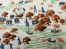 Best Vintage Feedsack Quilt Fabric 40s Novelty Tiny Farmer Town Flour Full Sack