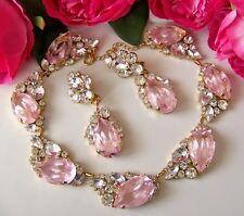 Lilien Czech Frosty Silver Pink Art Glass & Rhinestone Gold Plated Necklace Set