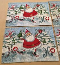 Ice Skating Santa Claus Christmas Cotton Placemats Set of 4 Excellent!