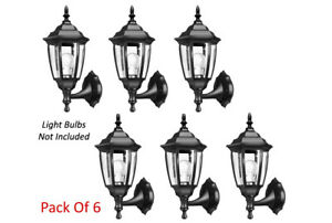 Elegant 6-Panel Clear Glass Design Outdoor Wall Lantern Sconce - Pack Of 6