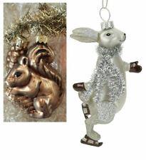 Christmas decoration glass squirrel & Gisela Graham hare SET of 2 vintage style