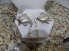 Vintage Sterling Silver Sweater Scarf Guard Double Pin Chain 925 Fishes