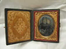 Tinted Glass Slide Photo Daguerreotype Old Woman Lady Image w/Case