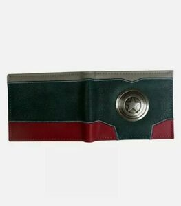 Marvel Avengers Captain America Cartoon Brown Leather Slim Wallet Card Coin Gift