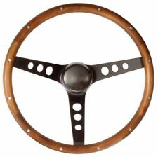 "MK1 CADDY Steering Wheel Wood 13.5"" Classic Bk Black Spoke 3 3/4"" Dish"