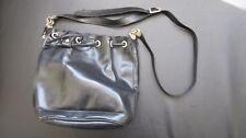 A Blue Leather Drawstring Handbag by Lit Choon (Portugal)